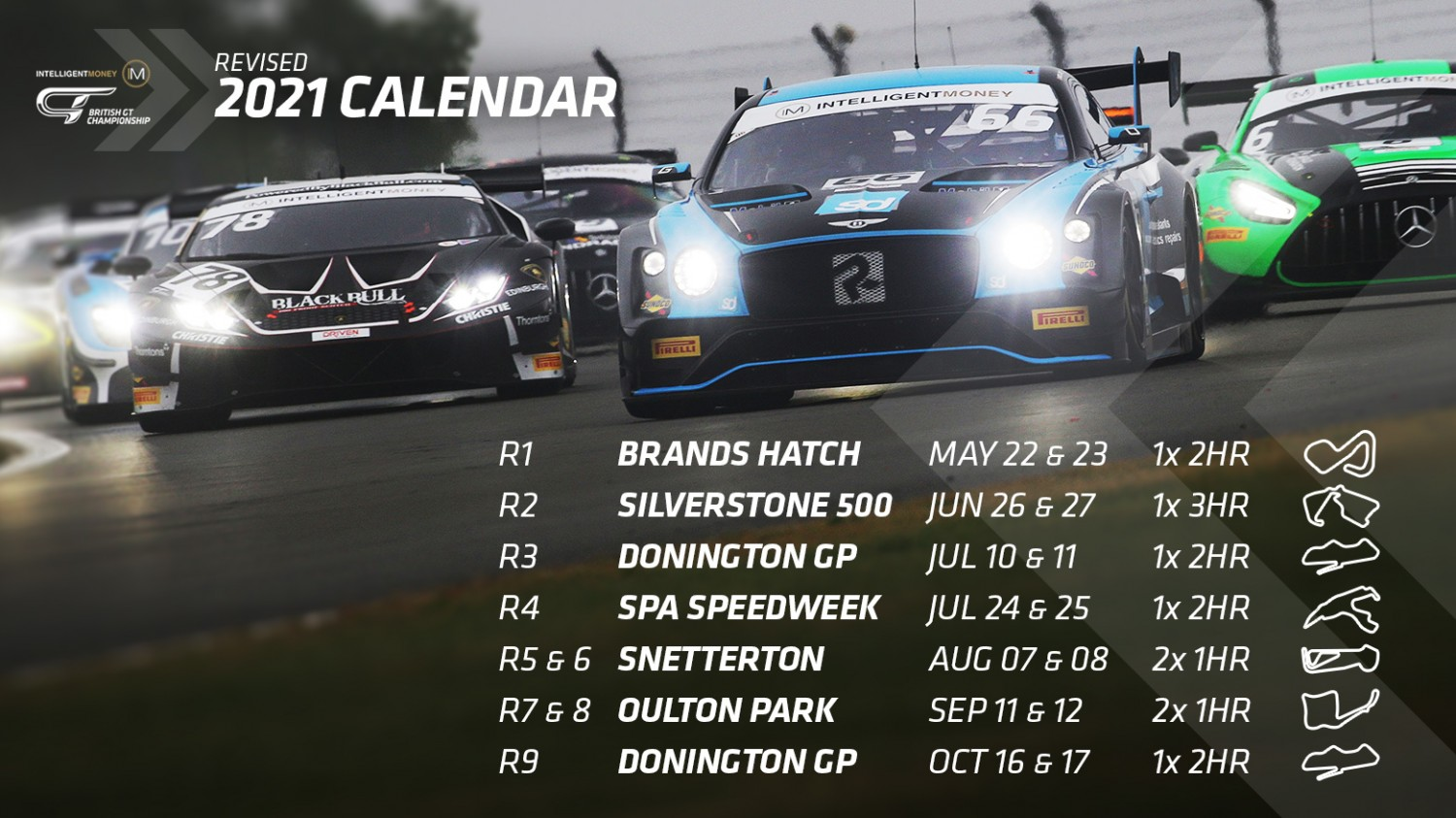 SRO Motorsports Group issues revised 2021 Intelligent Money British GT Championship calendar